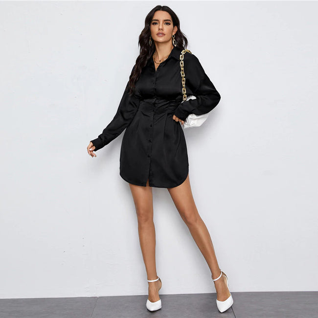 Black Drop Shoulder Fold Pleated Detail Shirt Mini Dress