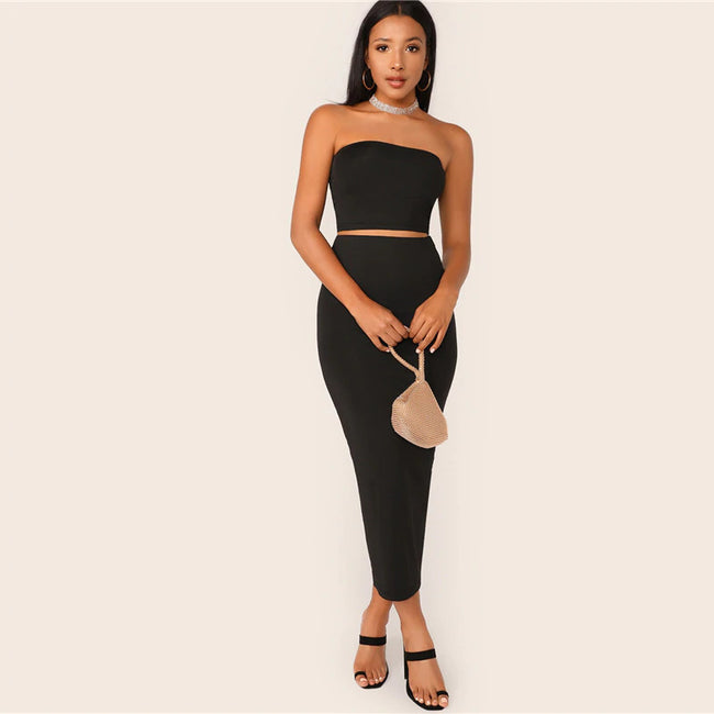 Black Solid Tube Crop Top & Pencil Skirt Set