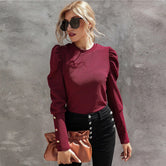 Maroon Button Detail Gigot Sleeve Solid Top
