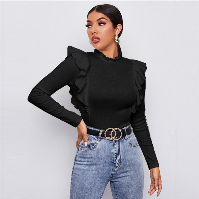 Black Frill Neck Ruffle Trim Form Fitted Top