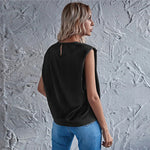 Black Solid Sleeveless Shoulder Pad Satin Top