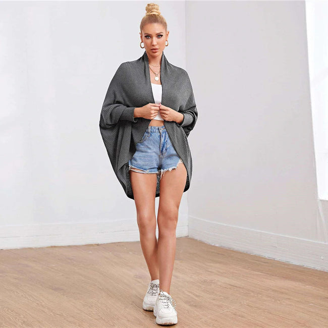Dark Grey Batwing Sleeve Waffle Knitted Cape Coat