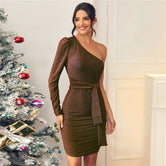 Chocolate Brown Glitter One Shoulder Tie Front Bodycon Dress