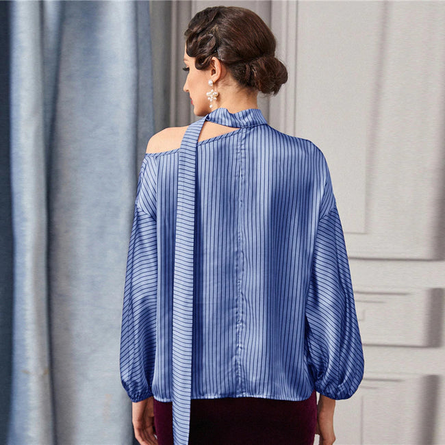 Blue Tie Neck Asymmetrical Shoulder Striped Top