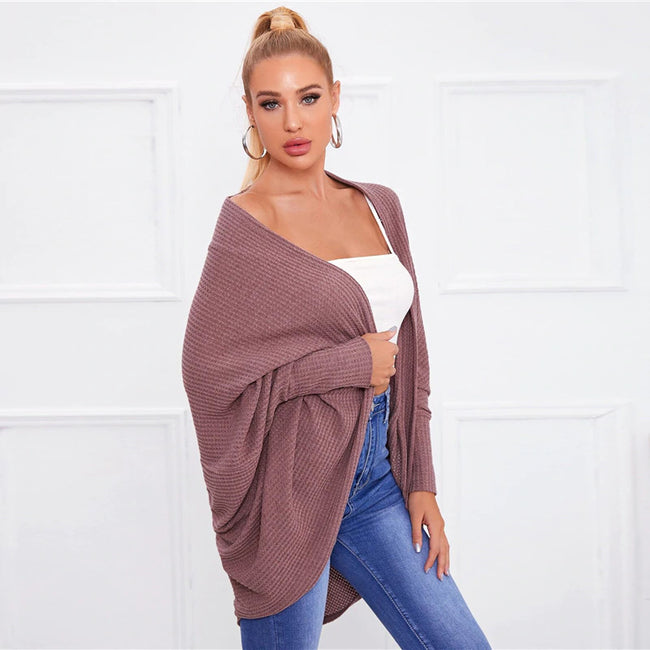 Dusty Pink Batwing Sleeve Waffle Knitted Cape Coat