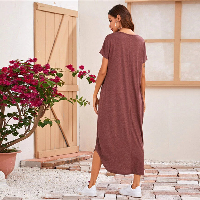 Hidden Pocket Curved Hem Heather Knit Long Dress