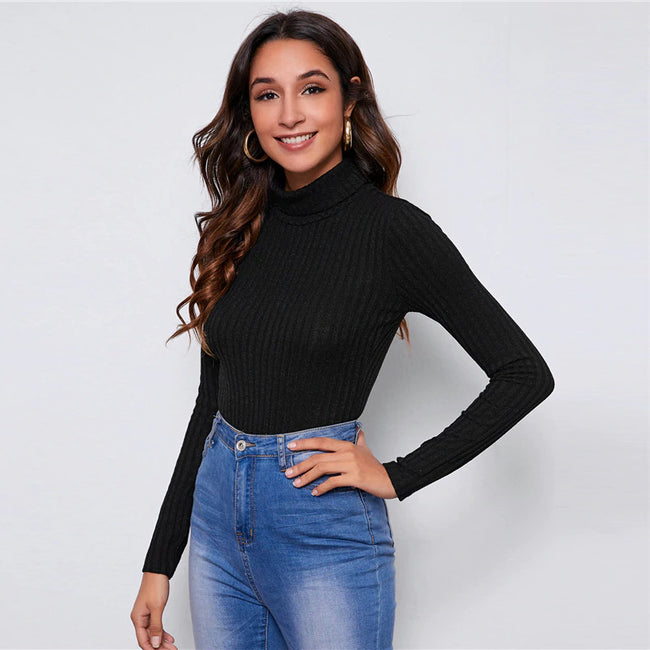 Black Rolled High Neck Fitted Rib-Knit Bodysuit
