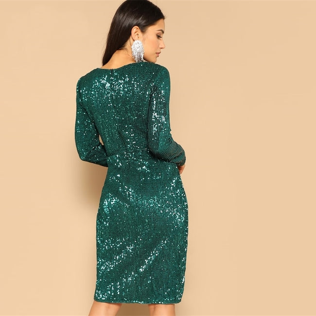 Green Twist Tulip Midi Dress