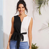 Black and White Notched Neck Two Tone Self Belted Sleeveless Top Blouse