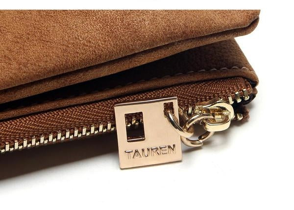 Nubuck Leather Zipper Wallet