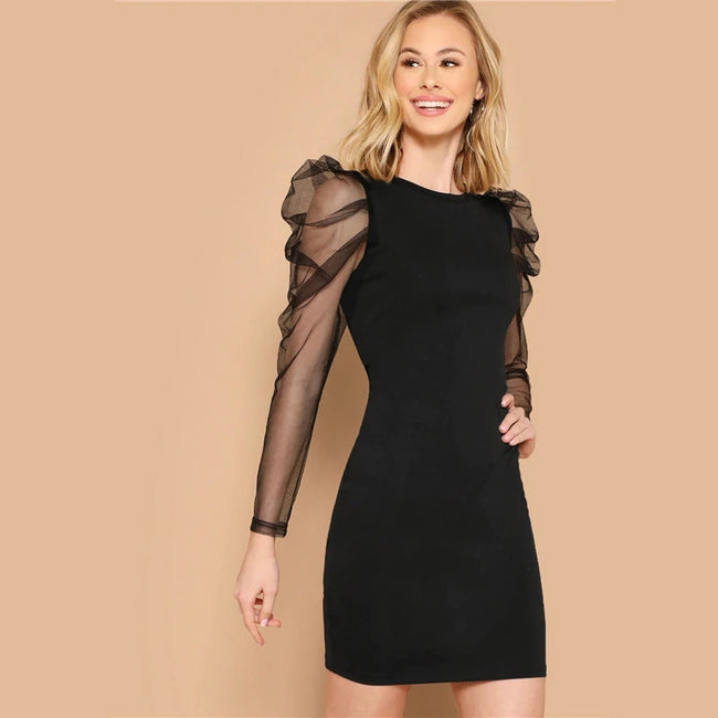 Black Mesh Gigot Long Sleeve Sheer Bodycon Dress