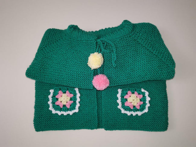 Green Hand Knitted Baby Vest for 0-2 Years
