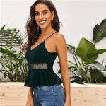 Dot Mesh Insert Peplum Cami Women's Top