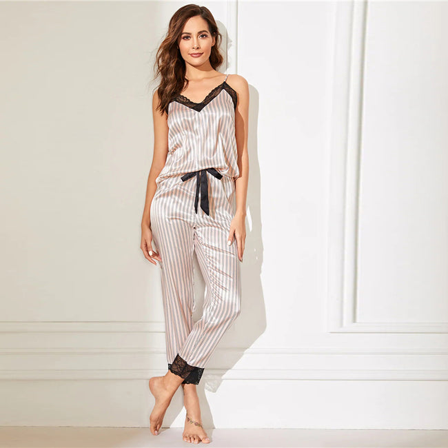 Pink Women's Striped Top & Bottom Pyjamas Set