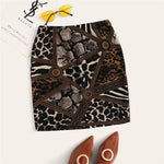 Mixed Animal Print Bodycon Mini Skirt