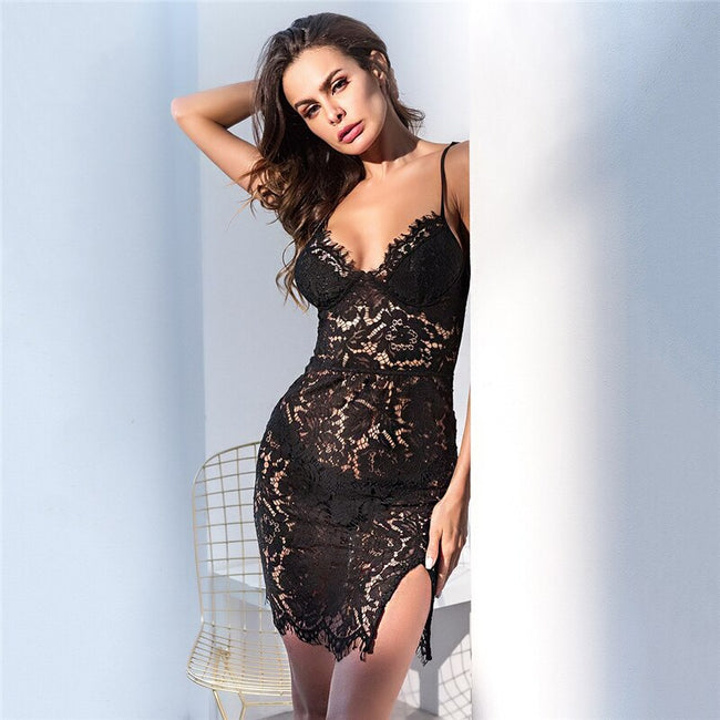 Slit Side Lace Mini Nightgown