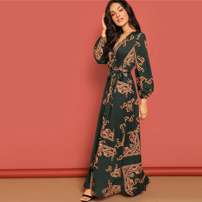 Scarf Print Belted Wrap Maxi Dress