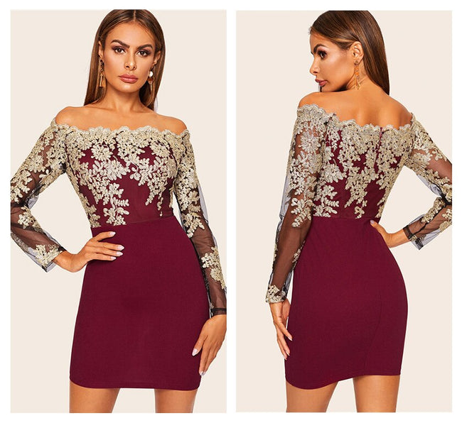 Lace Embroidered Scallop Mini Dress