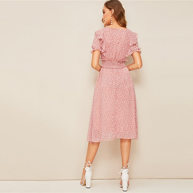 Pink V-Neck Ruffle Trim Puff Sleeve Boho Dress