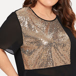 Sequin Sheer Short Sleeve Blouse