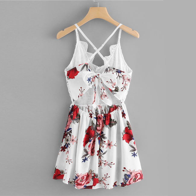 Criss Cross Backless Floral Print Contrast Lace Mini Dress