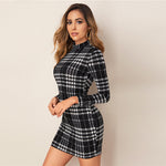 Plaid Stand Collar Bodycon Mini Dress