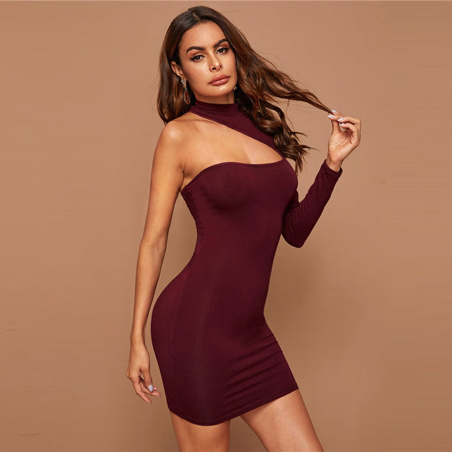 Burgundy Asymmetrical One Shoulder Bodycon Mini Dress