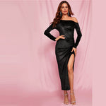 Black Split Thigh Glitter Velvet Bodycon Dress