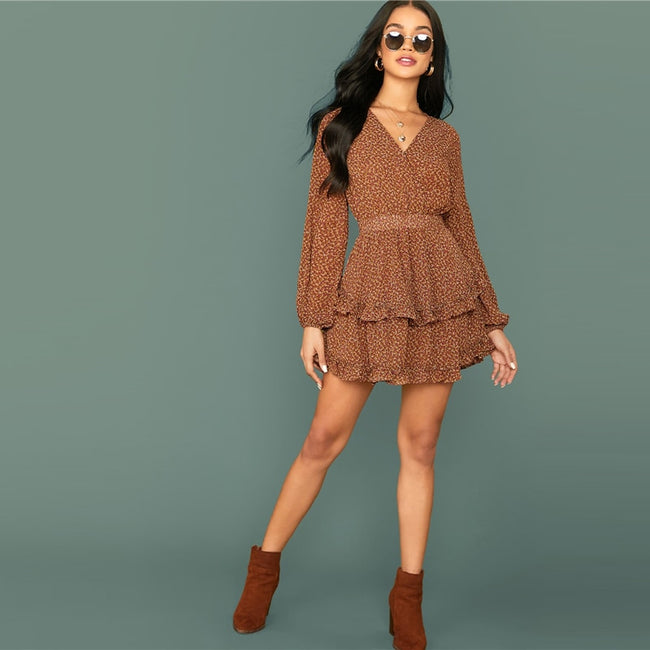 Brown Ruffle Sleeve Mini Dress
