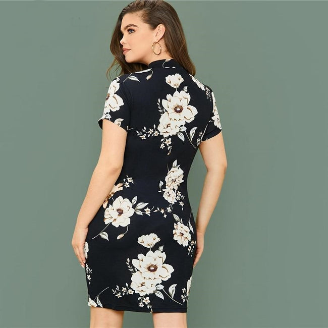 Mock-Neck Floral Print Bodycon Dress