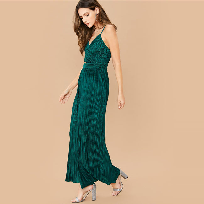 Green Cross Wrap Wide Leg Pleated Peekaboo Jumpsuit