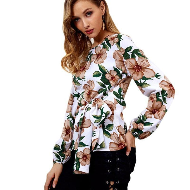 O-Neck Floral Print Long Sleeve Blouse