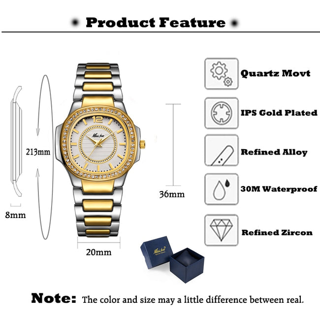 Zircon Stainless Nano Vaccum Plated Women's Watch