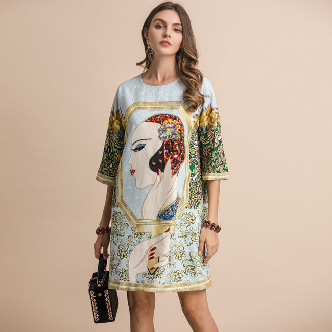 Half Sleeve Gorgeous Crystal Character Printed Dress