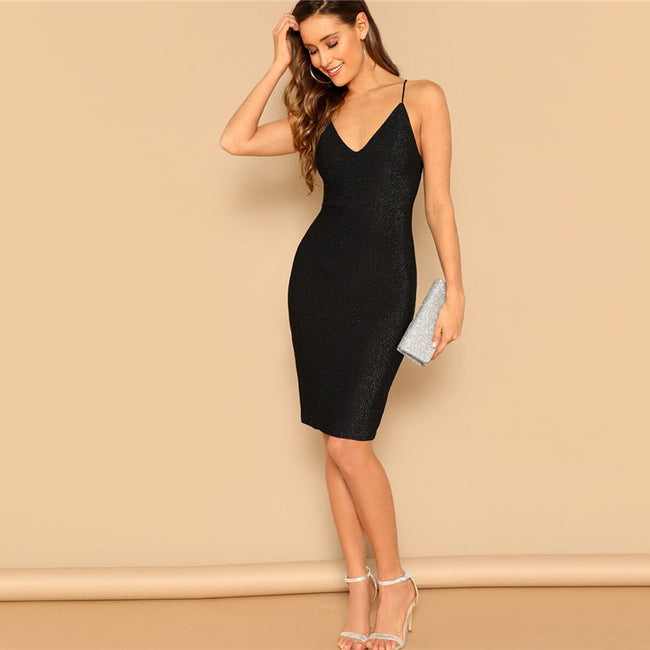 Spaghetti Strap Lace Up Back Bodycon Dress