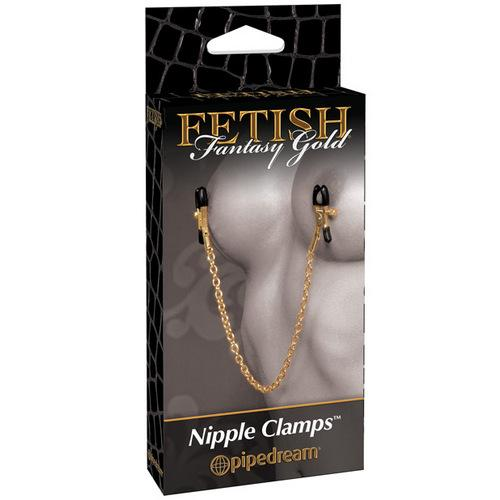 Fetish Fantasy Gold Chain Nipple Clamps - Gold