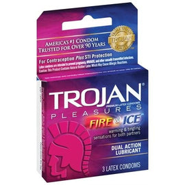 Trojan Pleasures Fire and Ice Dual Action Lubricated Condoms - 3 Pack