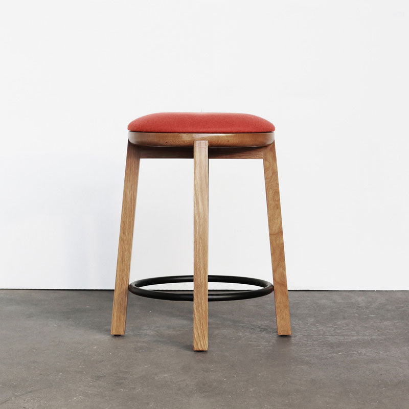 Cliff Stool Wood Upholstered - 450h