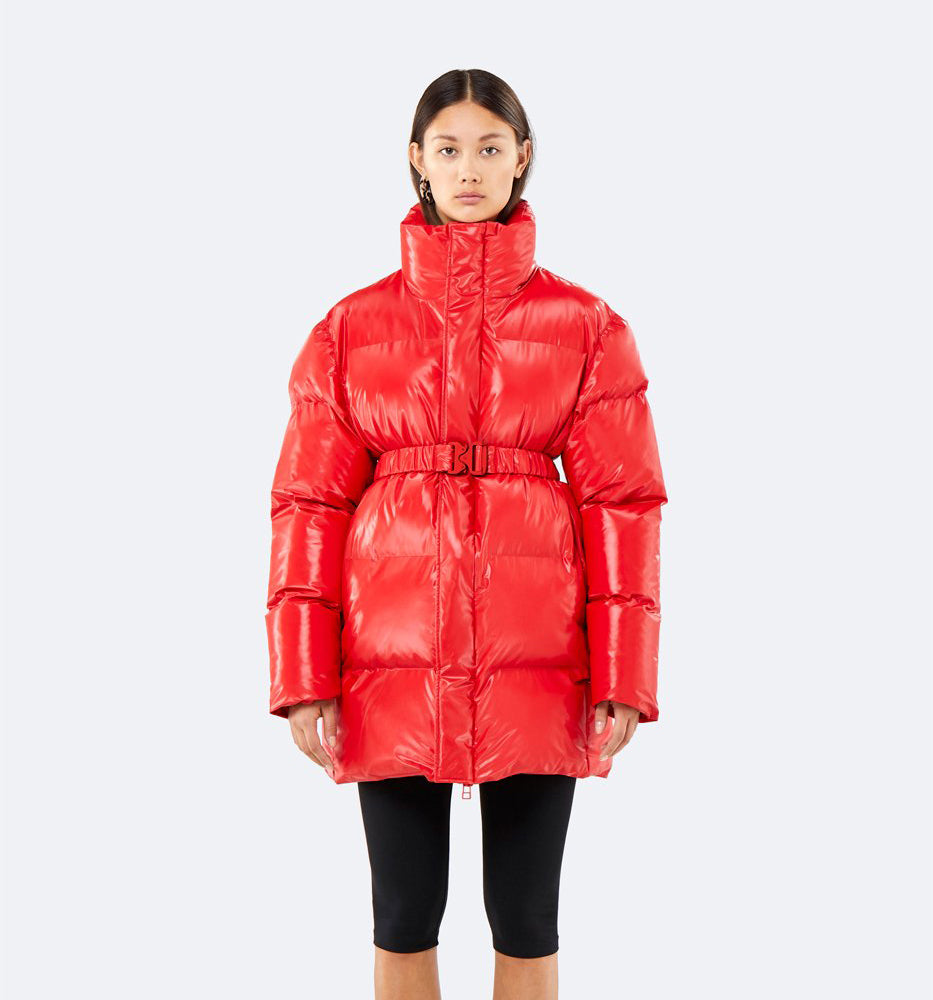 PUFFER COAT - SHINY RED XS/S