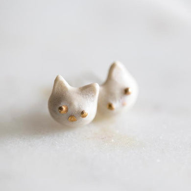 Slade Goods Hand Made Ceramic Kitty Studs