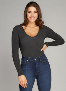 Bamboo ONE SIZE V Neck Long Sleeve Bodysuit
