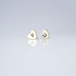 Grey Theory Mill Studs - F U Hearts