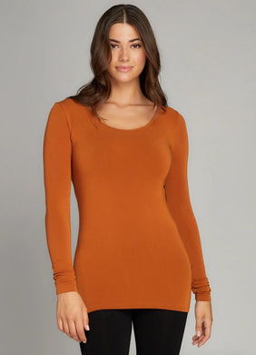 Bamboo ONE SIZE Long Sleeve Scoop Neck Top