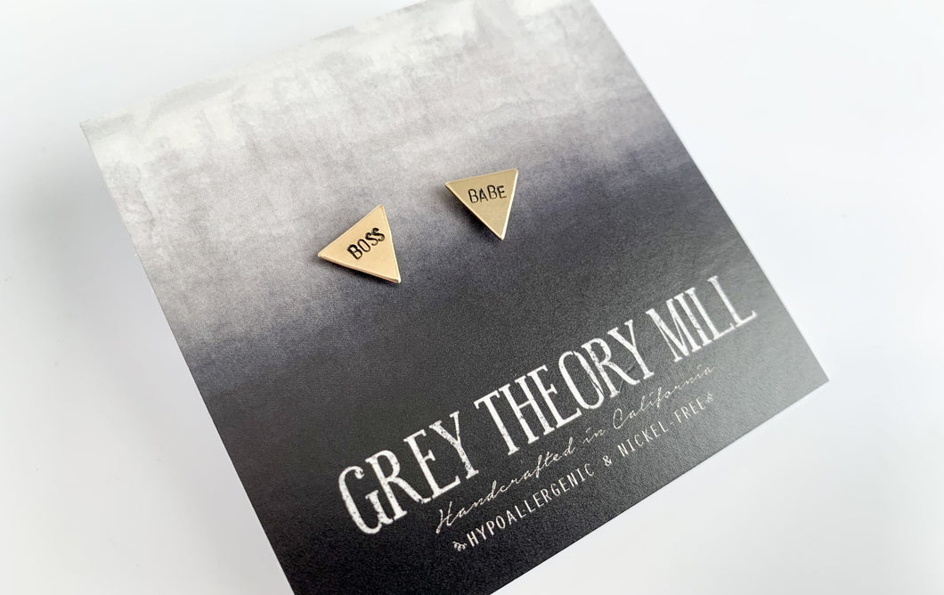 Grey Theory Studs - Boss Babe Triangles