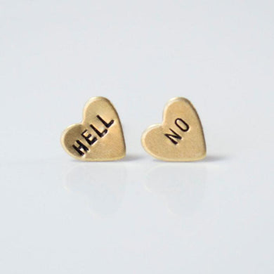 Grey Theory Mill Studs - Hell No - Heart Studs