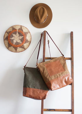 BROOKLYN Boho Leather and Fabric Bag - Canadian Made