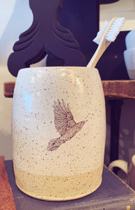 Black Bird Pottery Vase