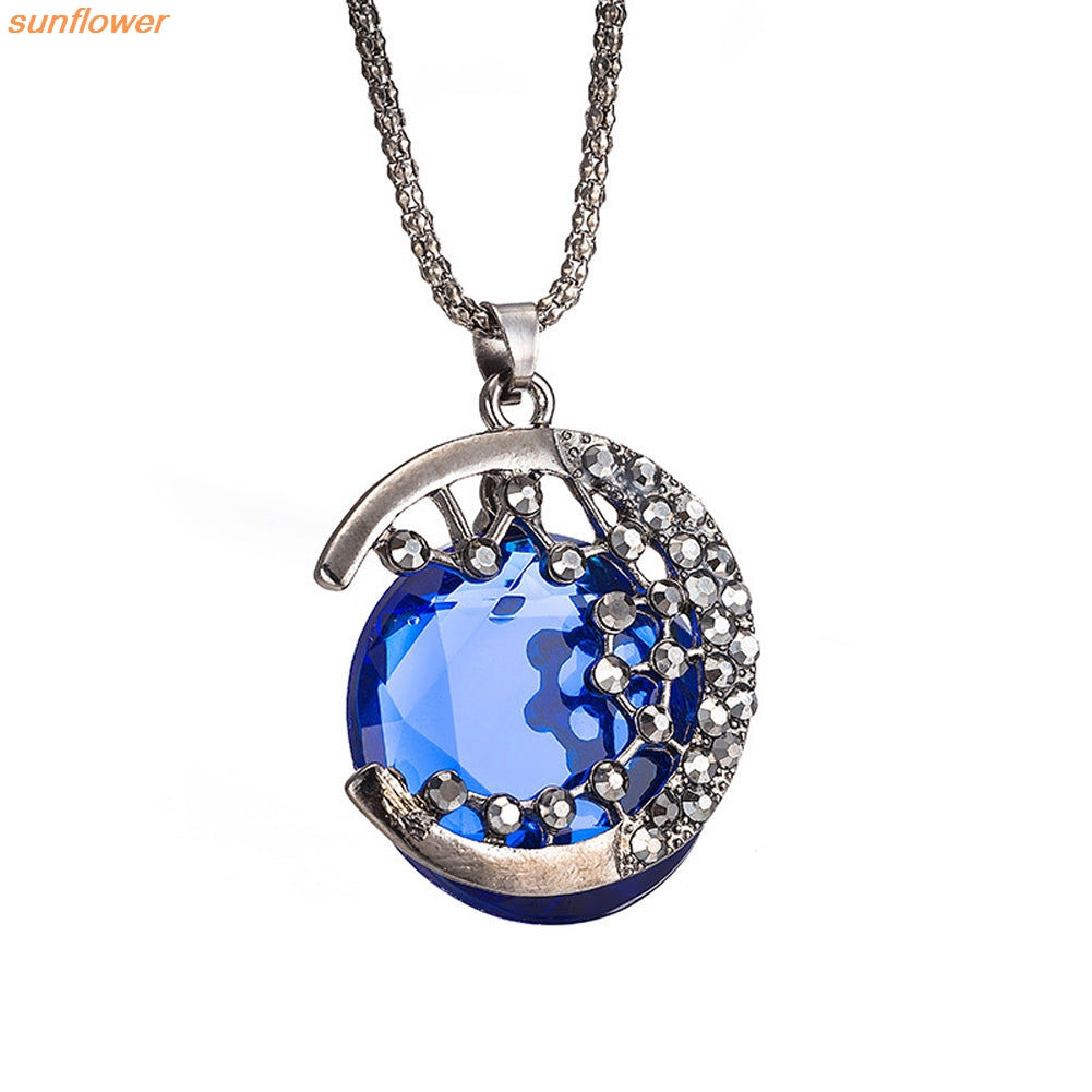 The Blue Moon: Crystal Statement Necklace - AM Craftworks Studio