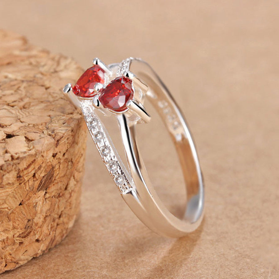 Heart Sapphire & Ruby Gemstone Silver Ring - AM Craftworks Studio