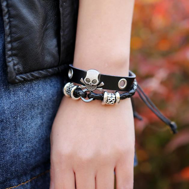 Leather Skull Bracelets - AM Craftworks Studio
